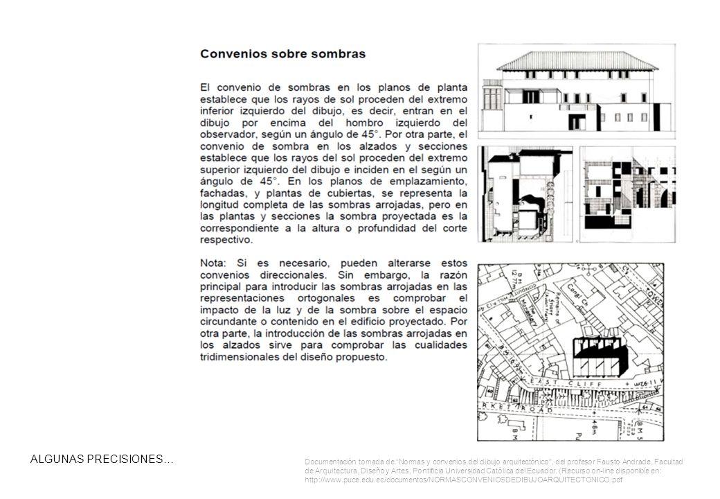 ALGUNAS PRECISIONES… Documentación tomada de Normas y convenios del dibujo arquitectónico, del profesor Fausto Andrade, Facultad de Arquitectura, Diseño y Artes, Pontificia Universidad Católica del Ecuador.
