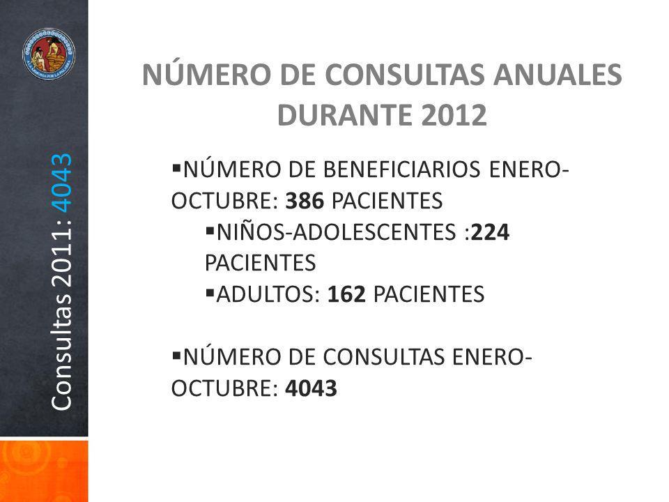 Consultas 2011: 4043 NÚMERO DE CONSULTAS ANUALES DURANTE 2012 NÚMERO DE BENEFICIARIOS ENERO- OCTUBRE: 386 PACIENTES NIÑOS-ADOLESCENTES :224 PACIENTES