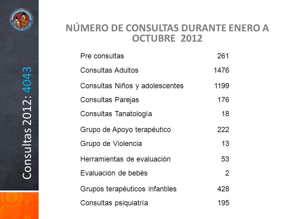 Consultas 2012: 4043 NÚMERO DE CONSULTAS DURANTE ENERO A OCTUBRE 2012 Pre consultas261 Consultas Adultos1476 Consultas Niños y adolescentes1199 Consul