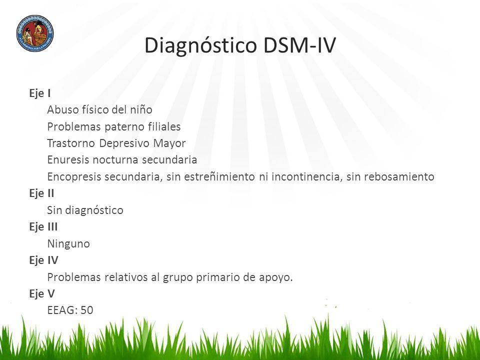 Diagnóstico DSM-IV Eje I Abuso físico del niño Problemas paterno filiales Trastorno Depresivo Mayor Enuresis nocturna secundaria Encopresis secundaria