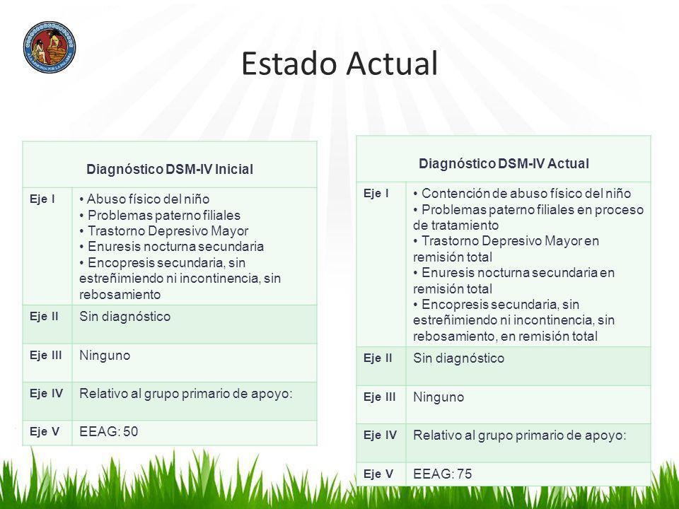 Estado Actual Diagnóstico DSM-IV Inicial Eje I Abuso físico del niño Problemas paterno filiales Trastorno Depresivo Mayor Enuresis nocturna secundaria