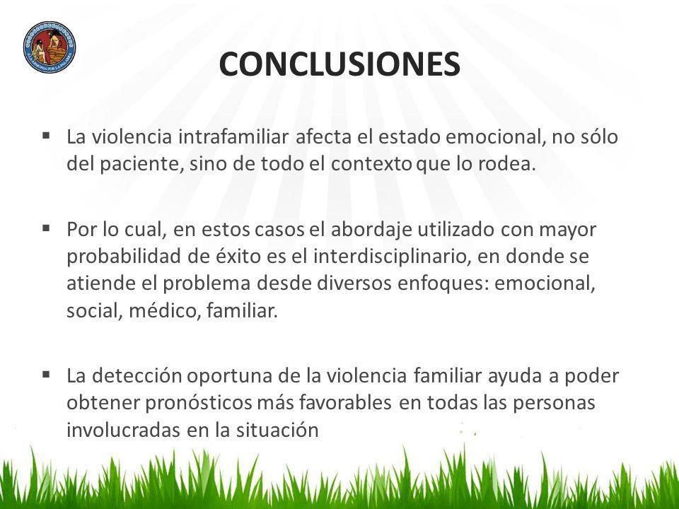 CONCLUSIONES La violencia intrafamiliar afecta el estado emocional, no sólo del paciente, sino de todo el contexto que lo rodea. Por lo cual, en estos