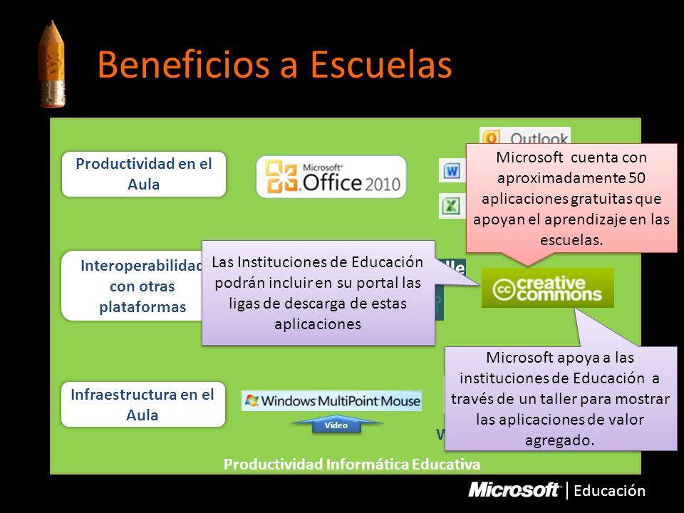 Educación Beneficios a Escuelas Productividad Informática Educativa Interoperabilidad con otras plataformas Productividad en el Aula Infraestructura e