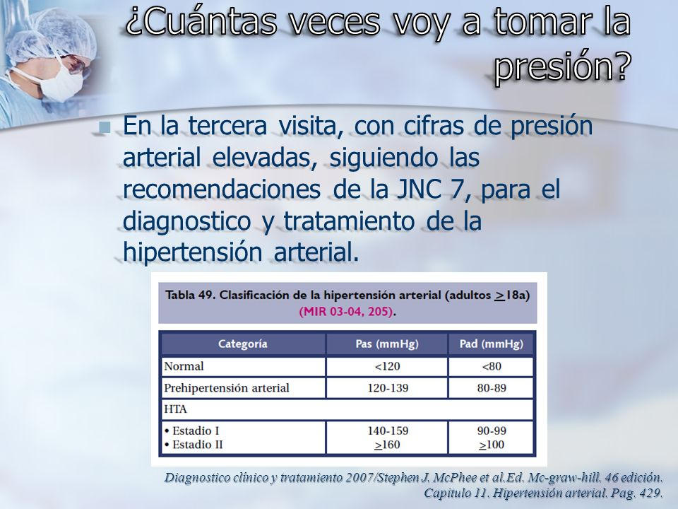 En la tercera visita, con cifras de presión arterial elevadas, siguiendo las recomendaciones de la JNC 7, para el diagnostico y tratamiento de la hipe