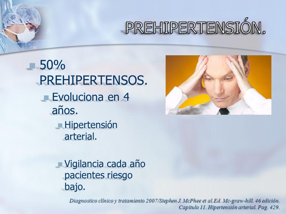 50% PREHIPERTENSOS. 50% PREHIPERTENSOS. Evoluciona en 4 años. Evoluciona en 4 años. Hipertensión arterial. Hipertensión arterial. Vigilancia cada año