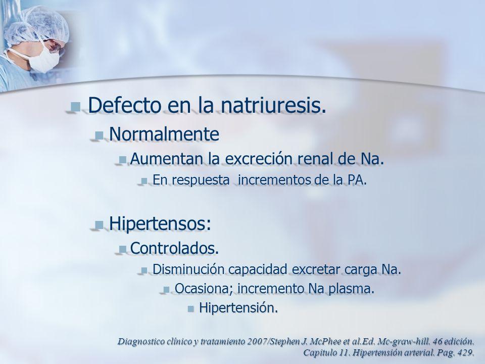 Defecto en la natriuresis. Defecto en la natriuresis. Normalmente Normalmente Aumentan la excreción renal de Na. Aumentan la excreción renal de Na. En