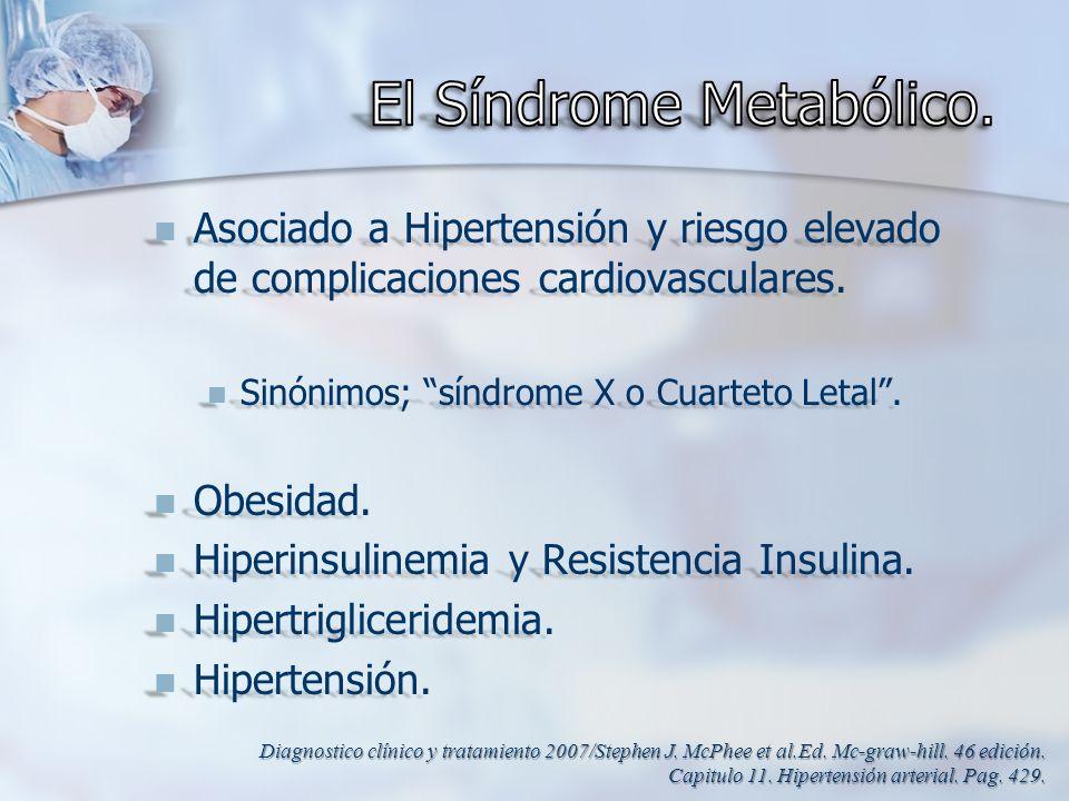 Asociado a Hipertensión y riesgo elevado de complicaciones cardiovasculares. Asociado a Hipertensión y riesgo elevado de complicaciones cardiovascular