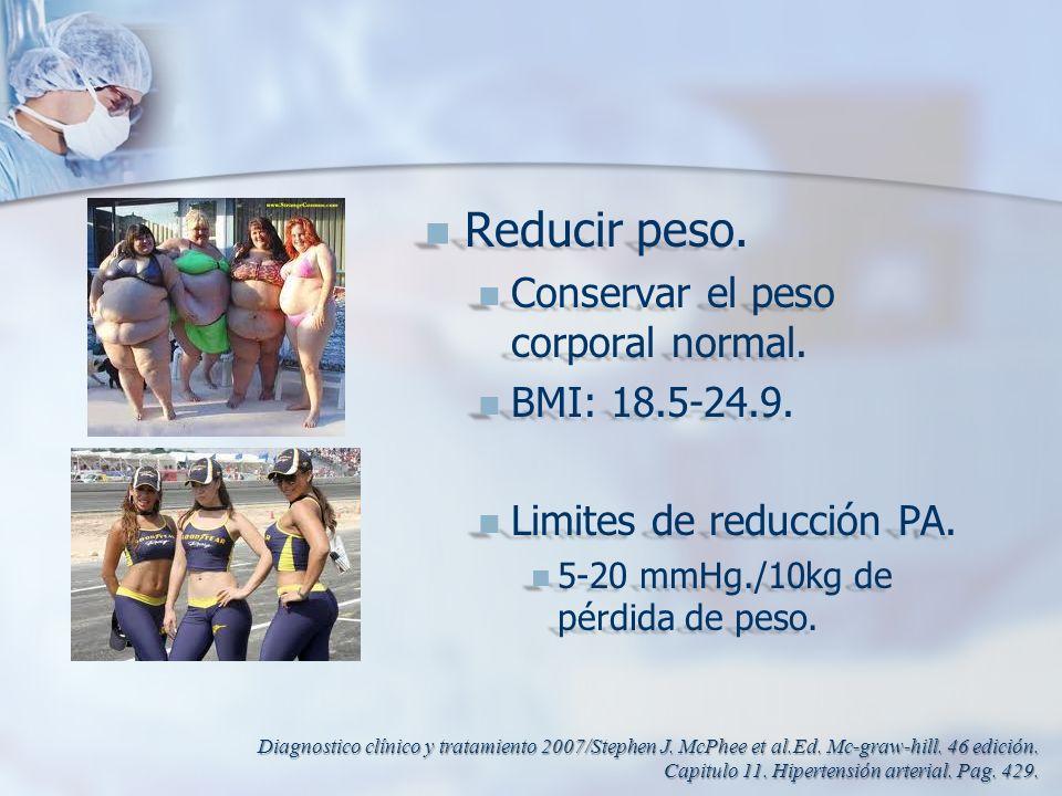 Reducir peso. Reducir peso. Conservar el peso corporal normal. Conservar el peso corporal normal. BMI: 18.5-24.9. BMI: 18.5-24.9. Limites de reducción