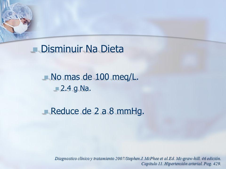Disminuir Na Dieta Disminuir Na Dieta No mas de 100 meq/L. No mas de 100 meq/L. 2.4 g Na. 2.4 g Na. Reduce de 2 a 8 mmHg. Reduce de 2 a 8 mmHg. Diagno