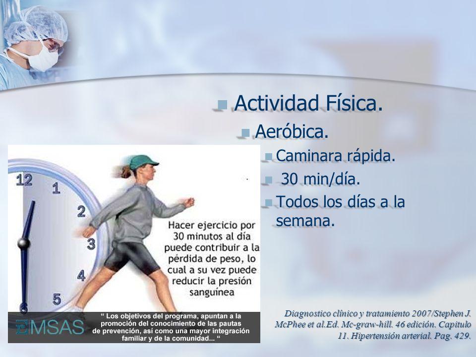 Actividad Física. Actividad Física. Aeróbica. Aeróbica. Caminara rápida. Caminara rápida. 30 min/día. 30 min/día. Todos los días a la semana. Todos lo