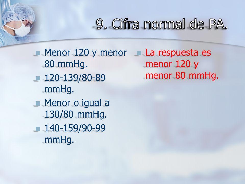 Menor 120 y menor 80 mmHg. Menor 120 y menor 80 mmHg. 120-139/80-89 mmHg. 120-139/80-89 mmHg. Menor o igual a 130/80 mmHg. Menor o igual a 130/80 mmHg