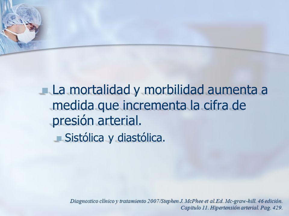 La mortalidad y morbilidad aumenta a medida que incrementa la cifra de presión arterial. La mortalidad y morbilidad aumenta a medida que incrementa la