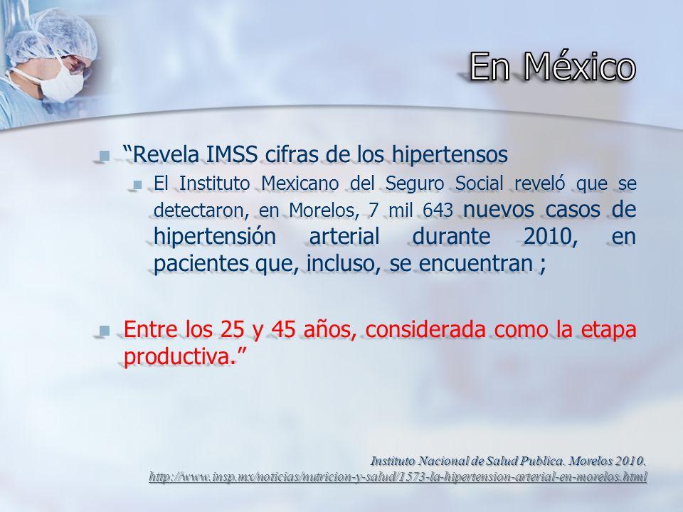 Revela IMSS cifras de los hipertensos Revela IMSS cifras de los hipertensos El Instituto Mexicano del Seguro Social reveló que se detectaron, en Morel