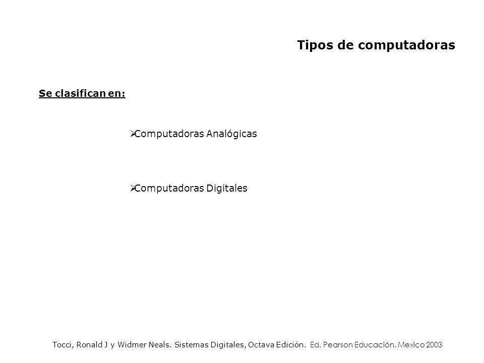 Tipos de computadoras Se clasifican en: Computadoras Analógicas Computadoras Digitales Tocci, Ronald J y Widmer Neals. Sistemas Digitales, Octava Edic