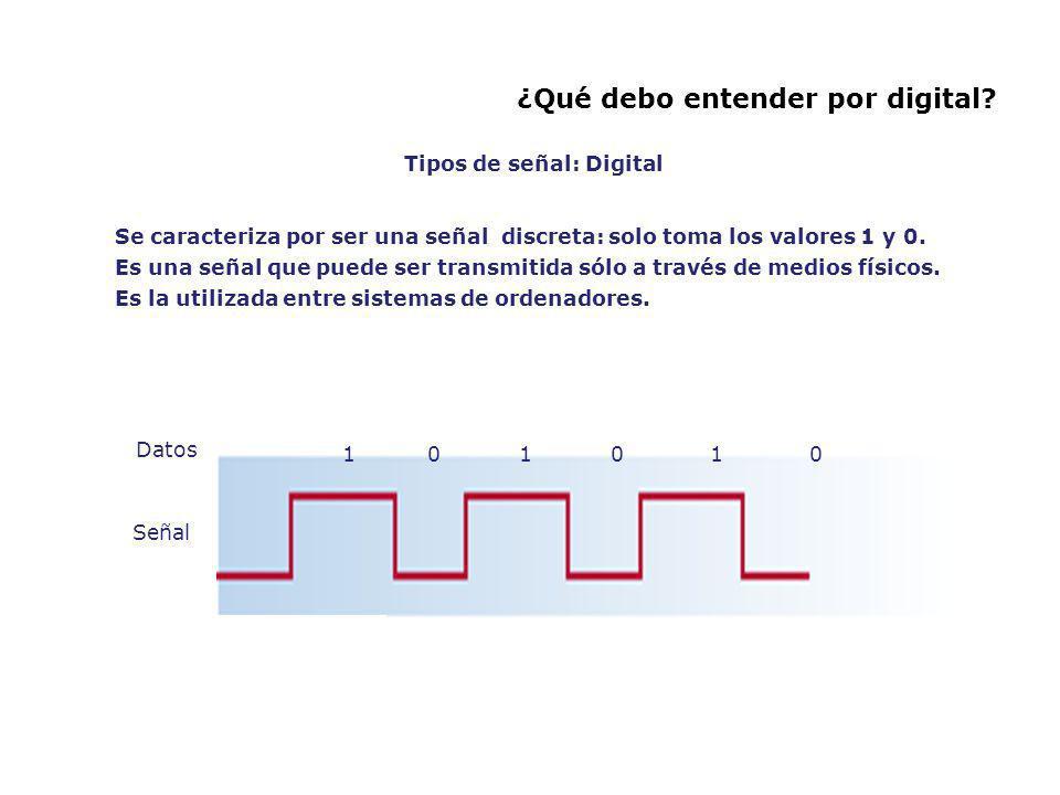 ¿Qué debo entender por digital? Se caracteriza por ser una señal discreta: solo toma los valores 1 y 0. Es una señal que puede ser transmitida sólo a