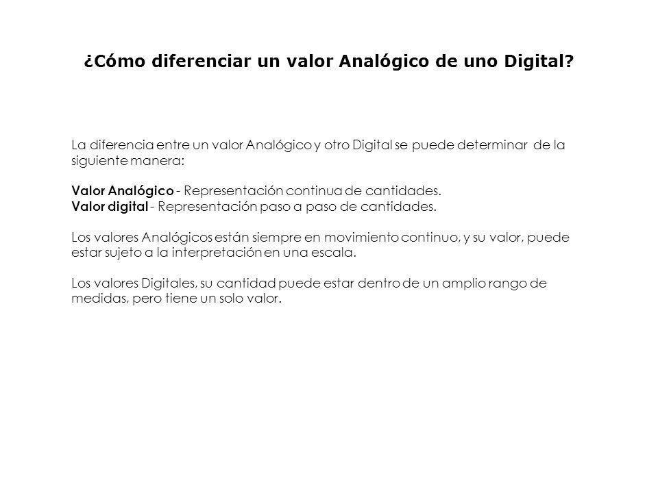 ¿Cómo diferenciar un valor Analógico de uno Digital? La diferencia entre un valor Analógico y otro Digital se puede determinar de la siguiente manera: