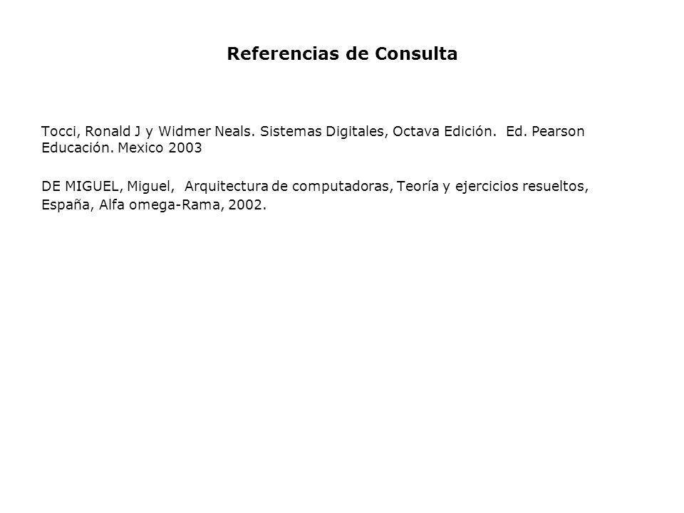 Referencias de Consulta Tocci, Ronald J y Widmer Neals. Sistemas Digitales, Octava Edición. Ed. Pearson Educación. Mexico 2003 DE MIGUEL, Miguel, Arqu