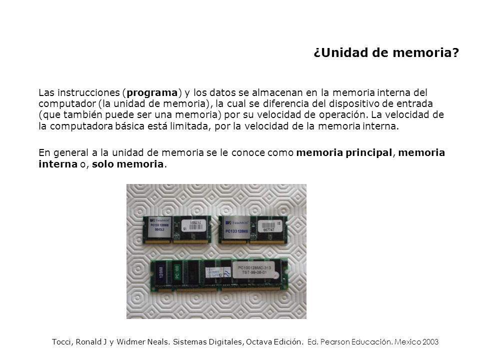 Las instrucciones (programa) y los datos se almacenan en la memoria interna del computador (la unidad de memoria), la cual se diferencia del dispositi