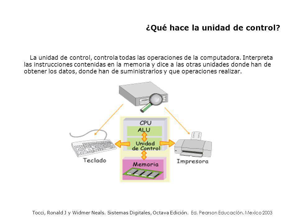La unidad de control, controla todas las operaciones de la computadora. Interpreta las instrucciones contenidas en la memoria y dice a las otras unida