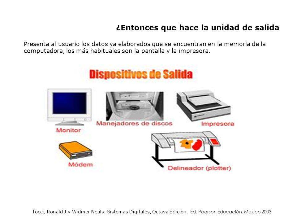 Presenta al usuario los datos ya elaborados que se encuentran en la memoria de la computadora, los más habituales son la pantalla y la impresora. ¿Ent