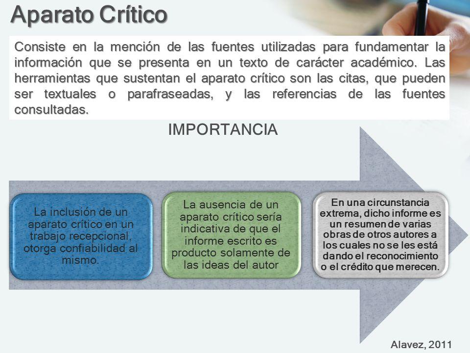 Aparato Crítico Consiste en la mención de las fuentes utilizadas para fundamentar la información que se presenta en un texto de carácter académico.