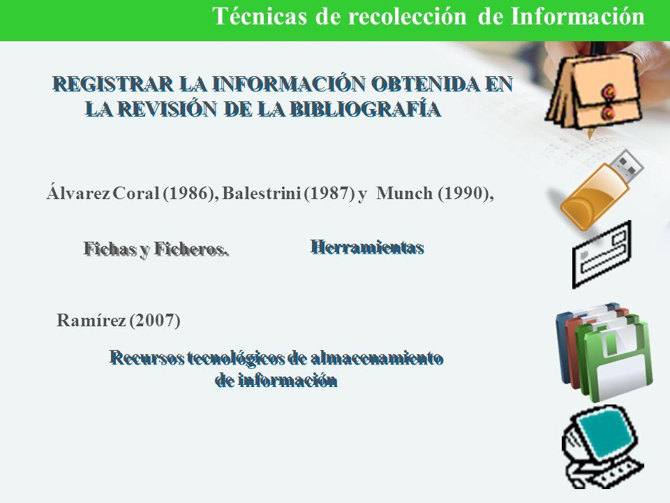 REGISTRAR LA INFORMACIÓN OBTENIDA EN LA REVISIÓN DE LA BIBLIOGRAFÍA Fichas y Ficheros.
