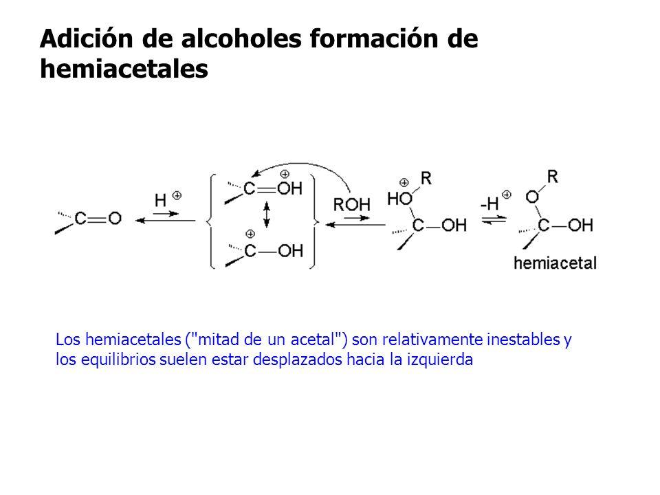 Adición de alcoholes formación de hemiacetales Adición de alcoholes formación de Los hemiacetales (