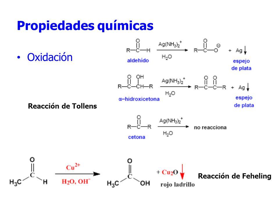 Propiedades químicas Oxidación Reacción de FehelingReacRReacción Reacción de Tollens Reacción de Feheling