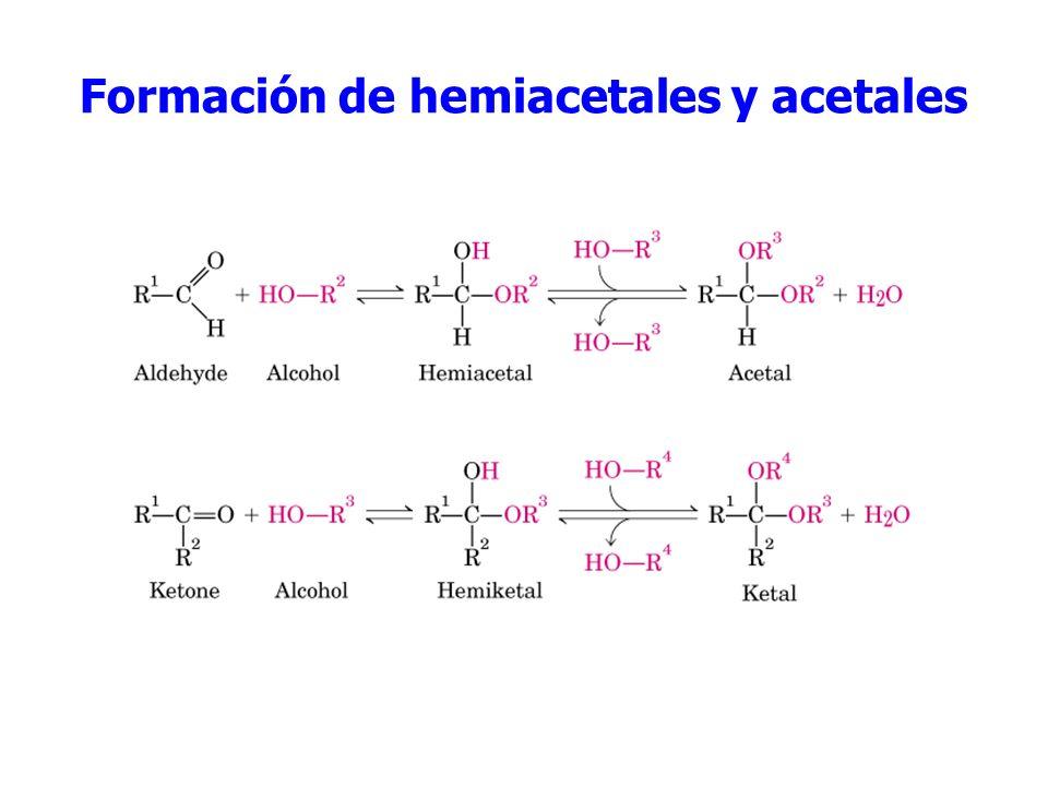 Adición de alcoholes formación de hemiacetales Adición de alcoholes formación de Los hemiacetales ( mitad de un acetal ) son relativamente inestables y los equilibrios suelen estar desplazados hacia la izquierda