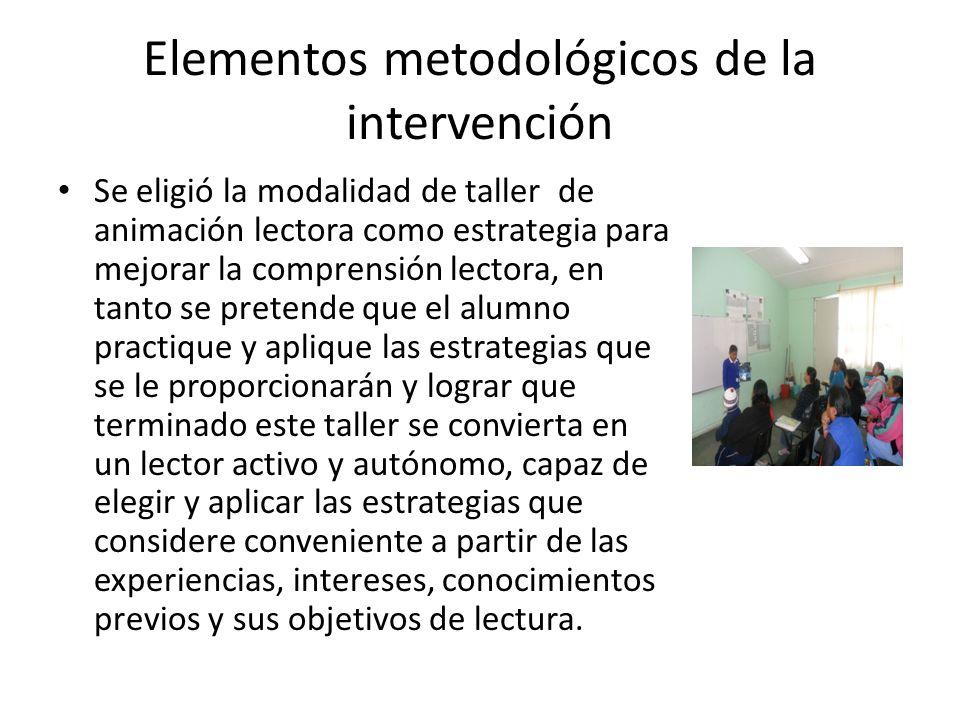 Elementos metodológicos de la intervención Se eligió la modalidad de taller de animación lectora como estrategia para mejorar la comprensión lectora,