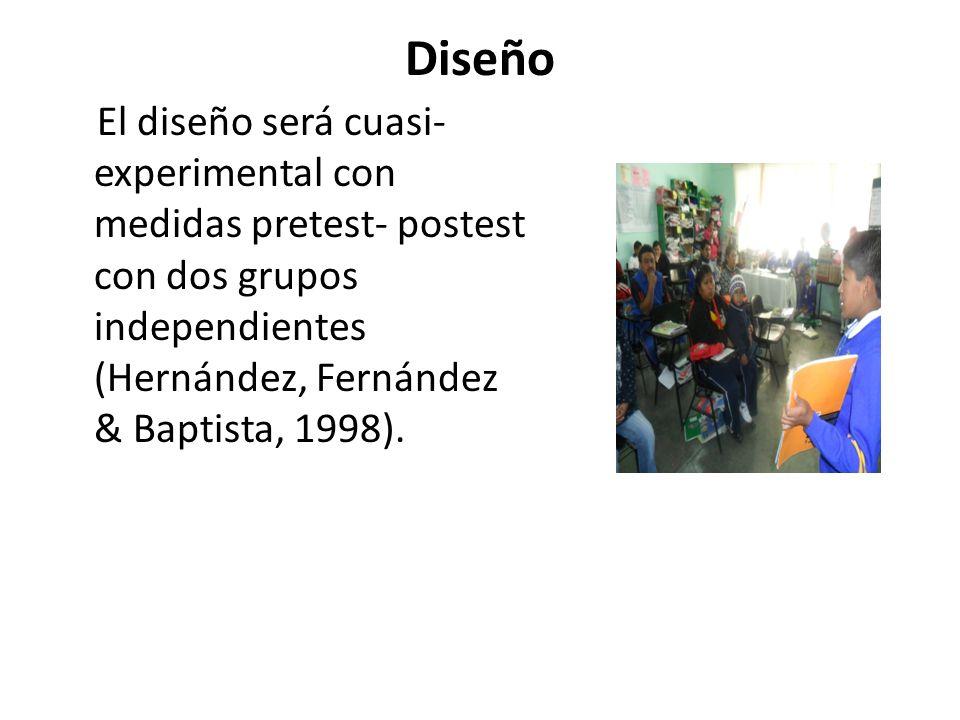 Diseño El diseño será cuasi- experimental con medidas pretest- postest con dos grupos independientes (Hernández, Fernández & Baptista, 1998).