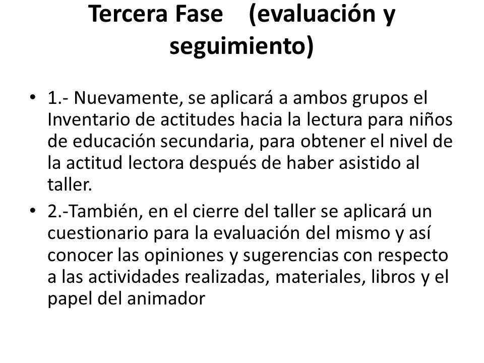 Tercera Fase (evaluación y seguimiento) 1.- Nuevamente, se aplicará a ambos grupos el Inventario de actitudes hacia la lectura para niños de educación