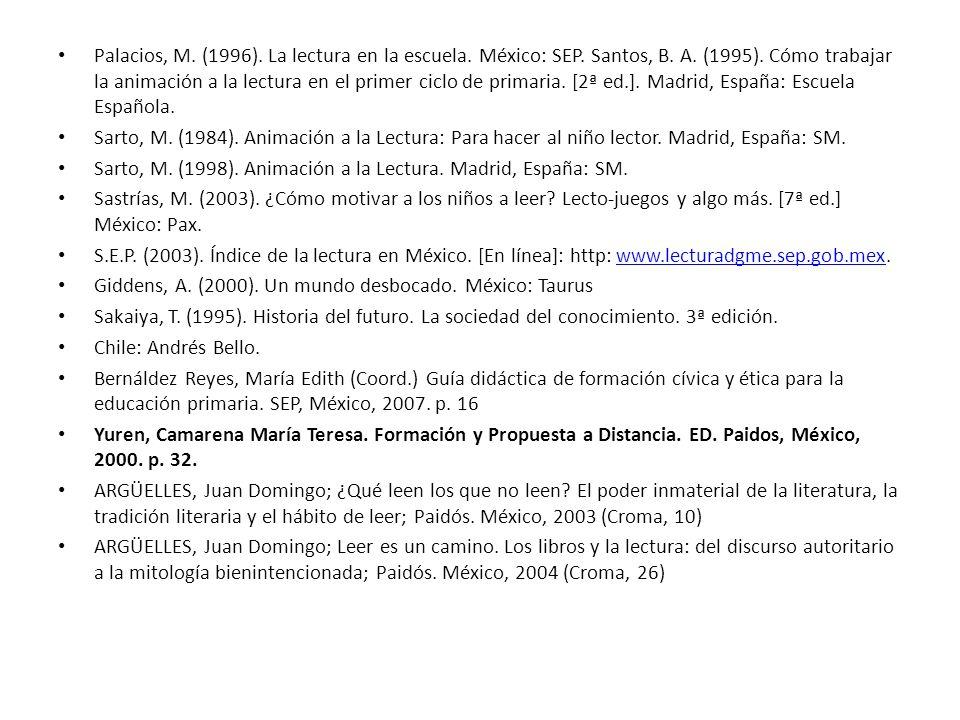 Palacios, M. (1996). La lectura en la escuela. México: SEP. Santos, B. A. (1995). Cómo trabajar la animación a la lectura en el primer ciclo de primar