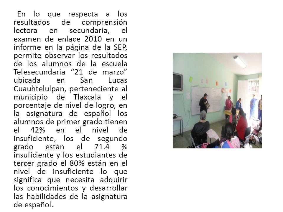 En lo que respecta a los resultados de comprensión lectora en secundaria, el examen de enlace 2010 en un informe en la página de la SEP, permite observar los resultados de los alumnos de la escuela Telesecundaria 21 de marzo ubicada en San Lucas Cuauhtelulpan, perteneciente al municipio de Tlaxcala y el porcentaje de nivel de logro, en la asignatura de español los alumnos de primer grado tienen el 42% en el nivel de insuficiente, los de segundo grado están el 71.4 % insuficiente y los estudiantes de tercer grado el 80% están en el nivel de insuficiente lo que significa que necesita adquirir los conocimientos y desarrollar las habilidades de la asignatura de español.