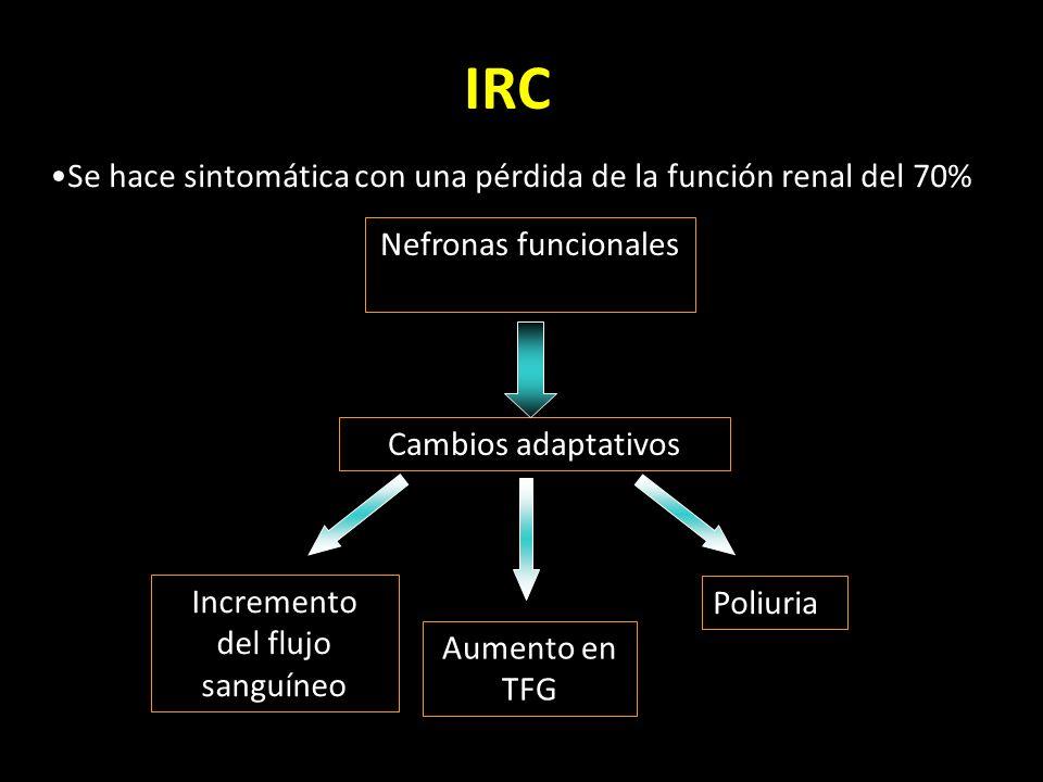 IRC Se hace sintomática con una pérdida de la función renal del 70% Cambios adaptativos Nefronas funcionales Aumento en TFG Poliuria Incremento del flujo sanguíneo