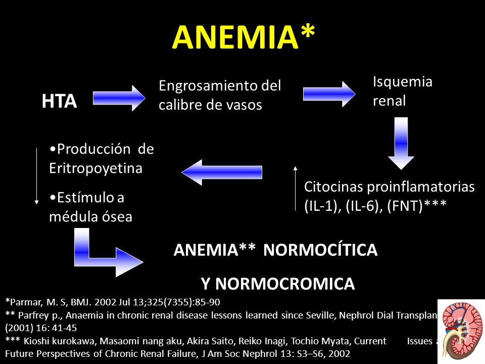 ANEMIA* HTA Engrosamiento del calibre de vasos Isquemia renal Citocinas proinflamatorias (IL-1), (IL-6), (FNT)*** Producción de Eritropoyetina Estímulo a médula ósea ANEMIA** NORMOCÍTICA Y NORMOCROMICA *Parmar, M.