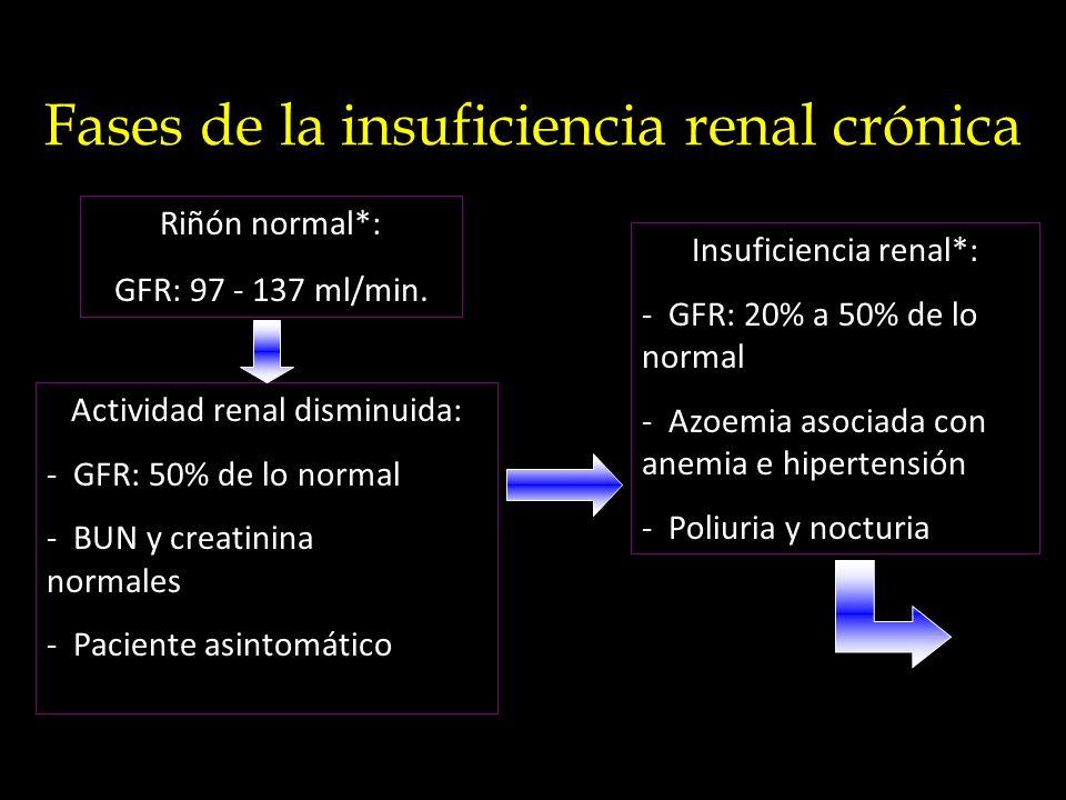 Fases de la insuficiencia renal crónica Riñón normal*: GFR: 97 - 137 ml/min. Actividad renal disminuida: - GFR: 50% de lo normal - BUN y creatinina no