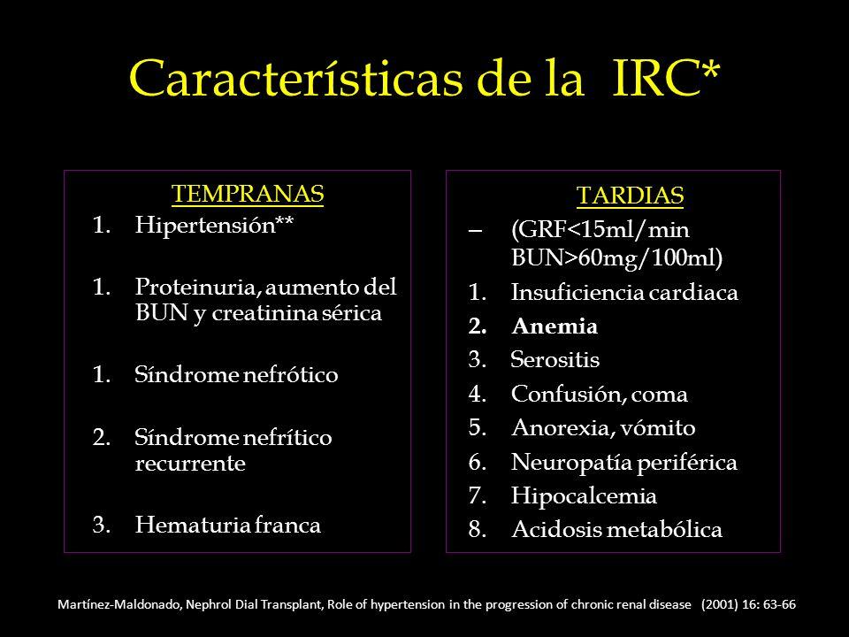 Características de la IRC* TEMPRANAS 1.Hipertensión** 1.Proteinuria, aumento del BUN y creatinina sérica 1.Síndrome nefrótico 2.Síndrome nefrítico recurrente 3.Hematuria franca TARDIAS – (GRF 60mg/100ml) 1.Insuficiencia cardiaca 2.Anemia 3.Serositis 4.Confusión, coma 5.Anorexia, vómito 6.Neuropatía periférica 7.Hipocalcemia 8.Acidosis metabólica, Nephrol Dial Transplant, Role of hypertension in the progression of chronic renal disease (2001) 16: 63-66 Martínez-Maldonado, Nephrol Dial Transplant, Role of hypertension in the progression of chronic renal disease (2001) 16: 63-66