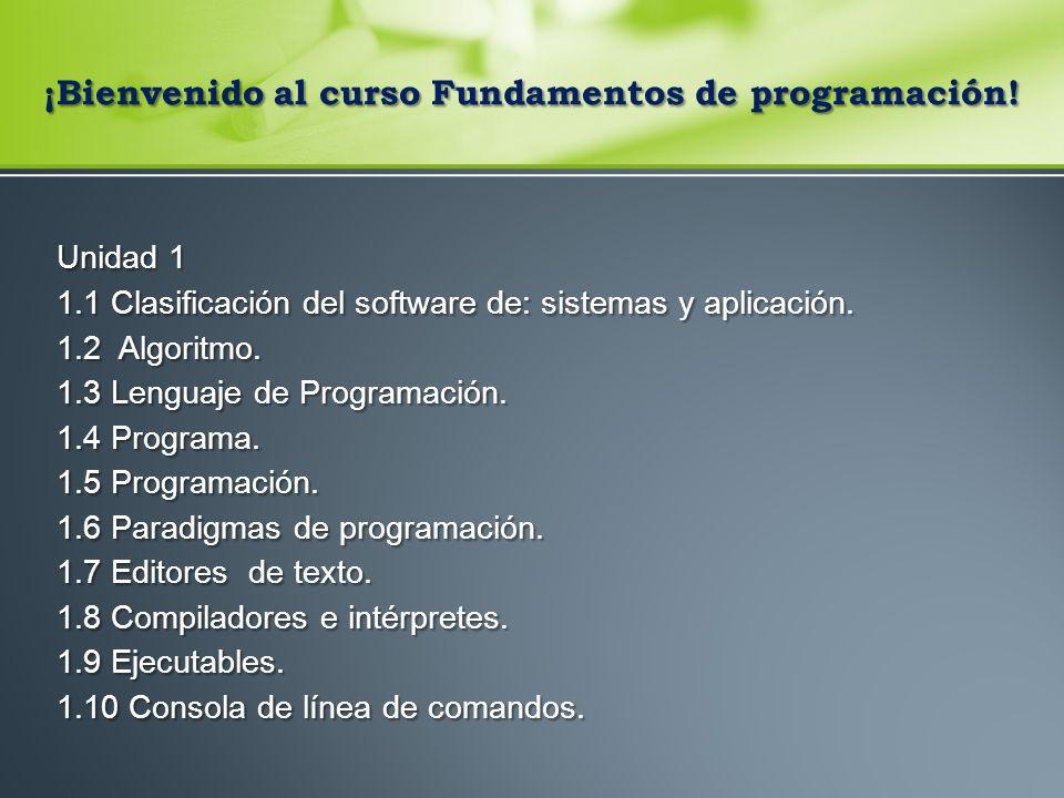 ¡Bienvenido al curso Fundamentos de programación.