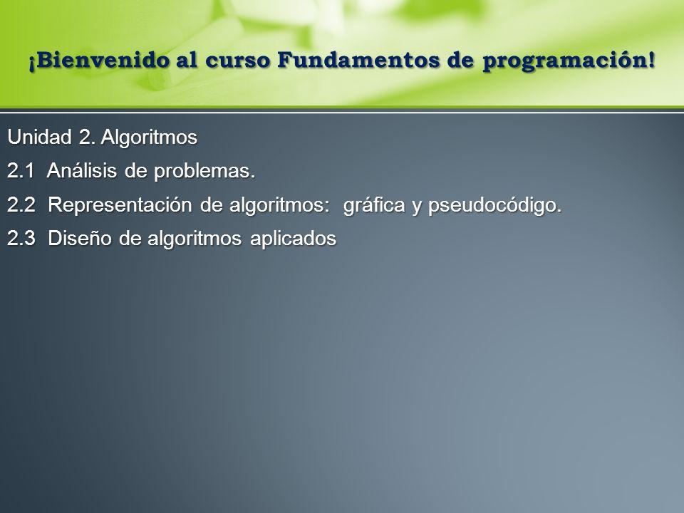 ¡Bienvenido al curso Fundamentos de programación.Unidad 2.