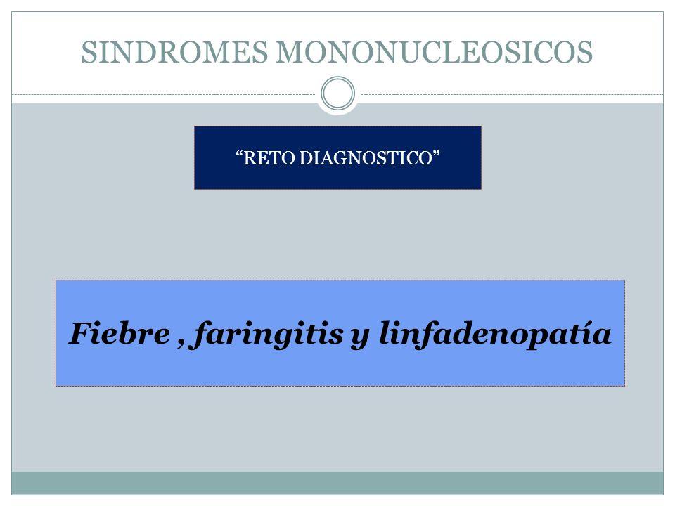 SINDROMES MONONUCLEOSICOS RETO DIAGNOSTICO Fiebre, faringitis y linfadenopatía