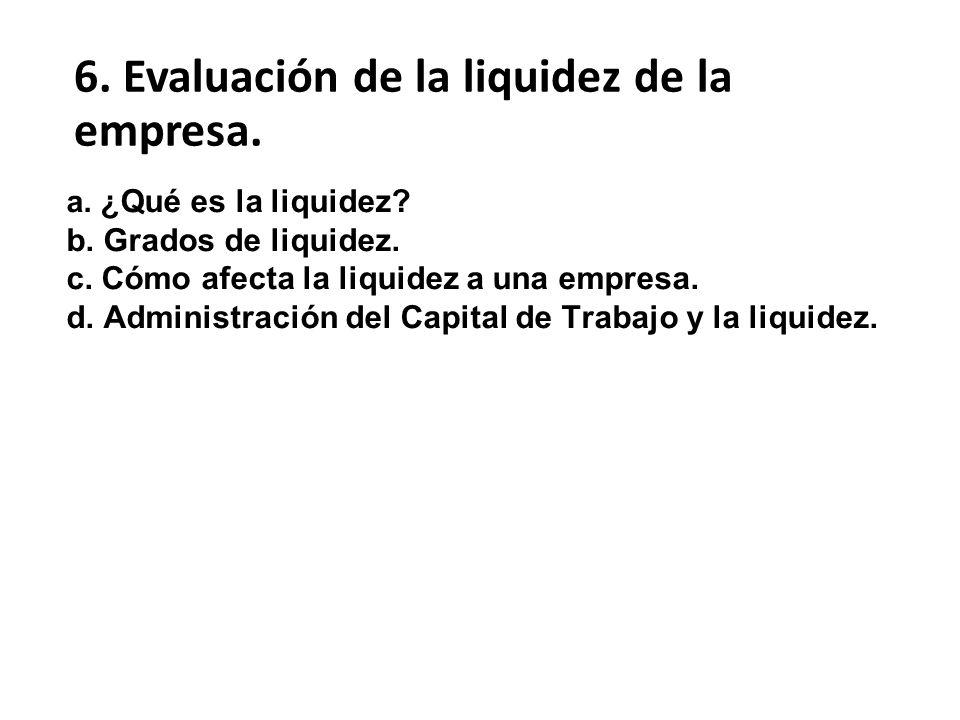 a. ¿Qué es la liquidez? b. Grados de liquidez. c. Cómo afecta la liquidez a una empresa. d. Administración del Capital de Trabajo y la liquidez. 6. Ev