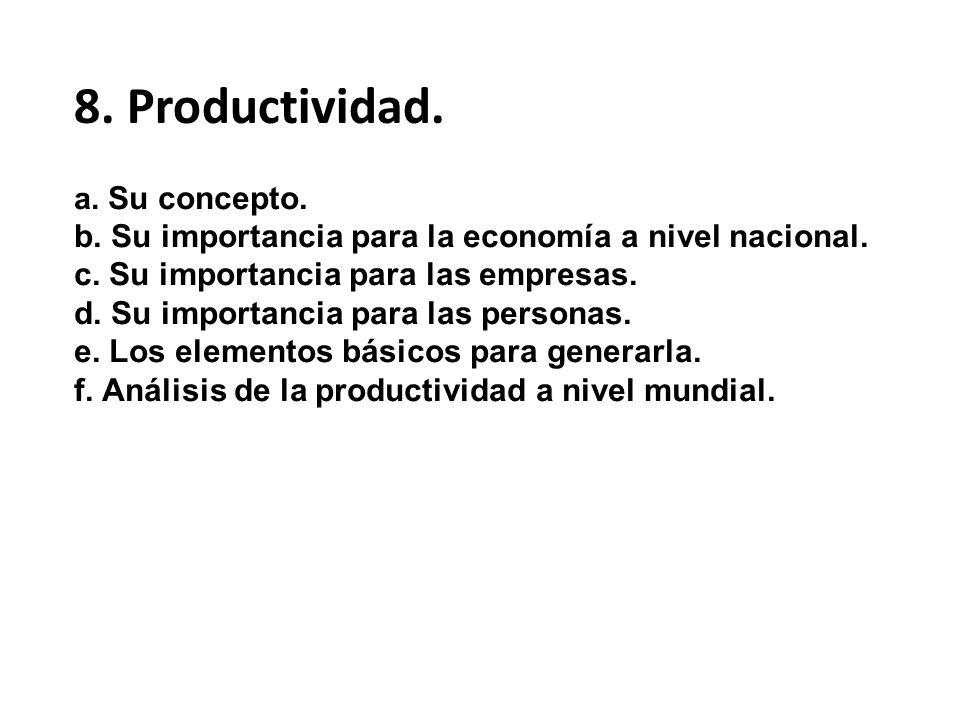a. Su concepto. b. Su importancia para la economía a nivel nacional. c. Su importancia para las empresas. d. Su importancia para las personas. e. Los