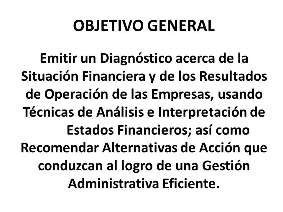 Emitir un Diagnóstico acerca de la Situación Financiera y de los Resultados de Operación de las Empresas, usando Técnicas de Análisis e Interpretación