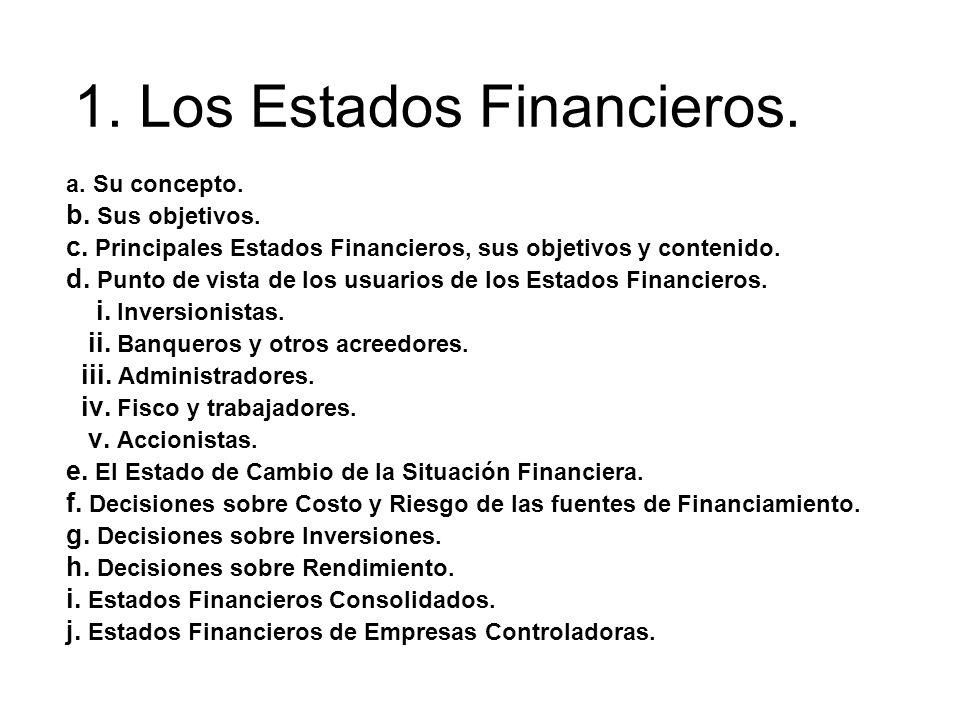 a. Su concepto. b. Sus objetivos. c. Principales Estados Financieros, sus objetivos y contenido. d. Punto de vista de los usuarios de los Estados Fina