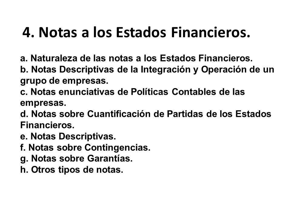 a. Naturaleza de las notas a los Estados Financieros. b. Notas Descriptivas de la Integración y Operación de un grupo de empresas. c. Notas enunciativ