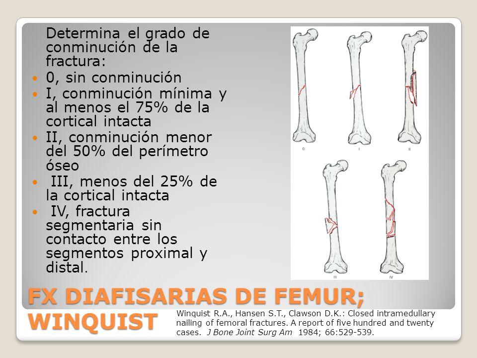 FX DIAFISARIAS DE FEMUR; WINQUIST Determina el grado de conminución de la fractura: 0, sin conminución I, conminución mínima y al menos el 75% de la cortical intacta II, conminución menor del 50% del perímetro óseo III, menos del 25% de la cortical intacta IV, fractura segmentaria sin contacto entre los segmentos proximal y distal.