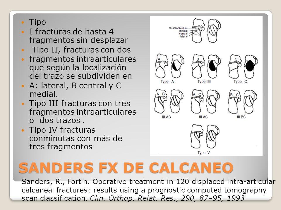 SANDERS FX DE CALCANEO Tipo I fracturas de hasta 4 fragmentos sin desplazar Tipo II, fracturas con dos fragmentos intraarticulares que según la localización del trazo se subdividen en A: lateral, B central y C medial.