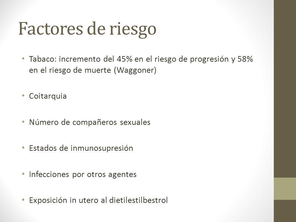Factores de riesgo Tabaco: incremento del 45% en el riesgo de progresión y 58% en el riesgo de muerte (Waggoner) Coitarquia Número de compañeros sexuales Estados de inmunosupresión Infecciones por otros agentes Exposición in utero al dietilestilbestrol