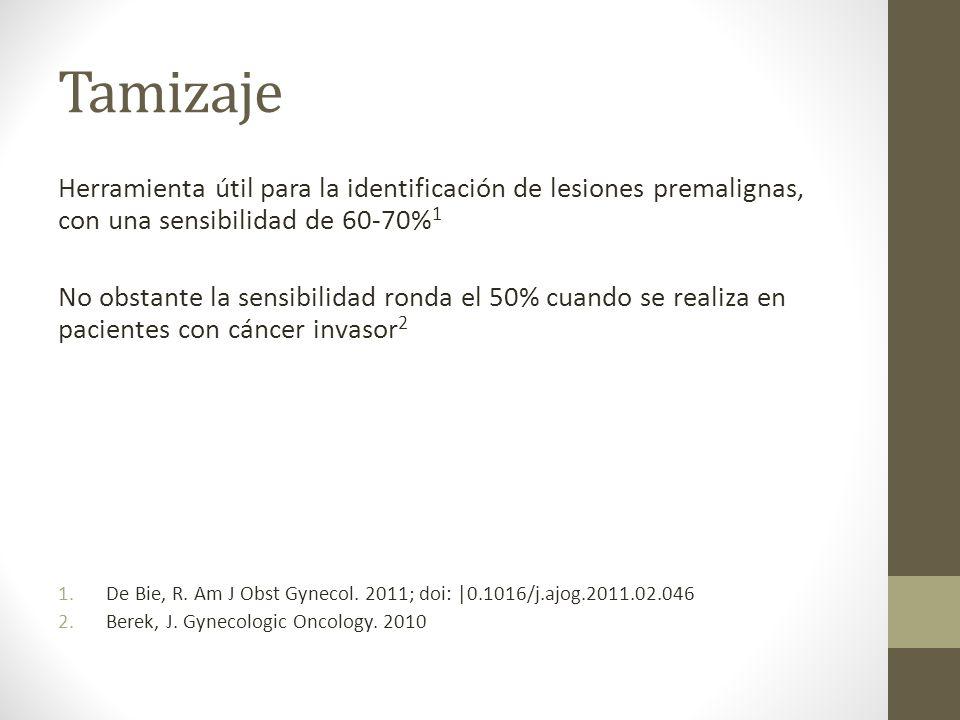 Tamizaje Herramienta útil para la identificación de lesiones premalignas, con una sensibilidad de 60-70% 1 No obstante la sensibilidad ronda el 50% cuando se realiza en pacientes con cáncer invasor 2 1.De Bie, R.